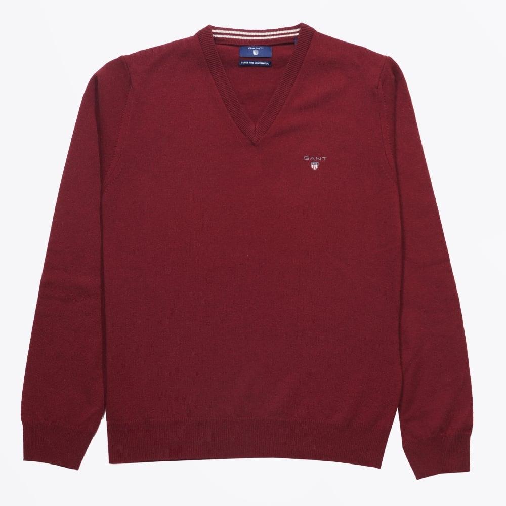 82541a651a8b91 Gant   Lambswool V-Neck Jumper - Burgundy   Mr & Mrs Stitch
