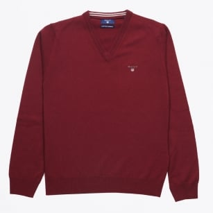 | Lambswool V-Neck Jumper - Burgundy