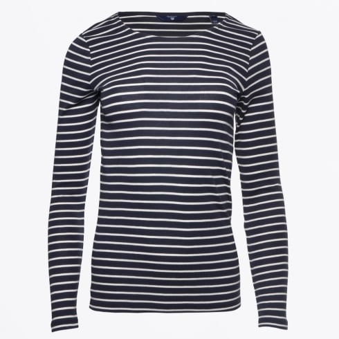 Gant - Long Sleeved Striped Rib T-Shirt - Evening Blue