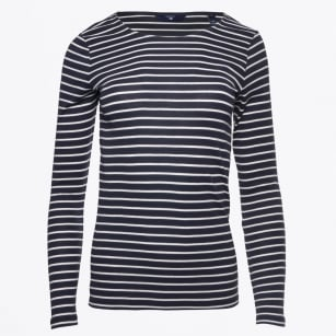 - Long Sleeved Striped Rib T-Shirt - Evening Blue