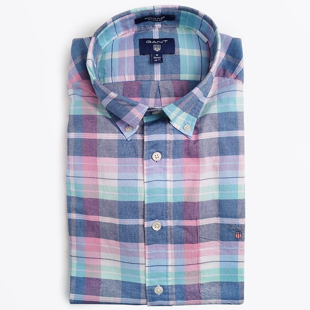 Gant madras plaid shirt persian blue mr mrs stitch for Mens madras shirt sale