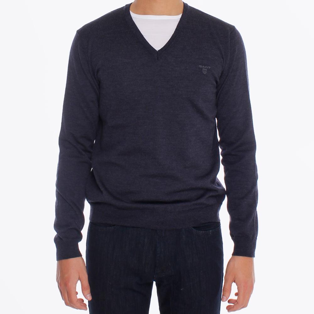 Gant | Merino Wool V Neck Sweater Dark Blue
