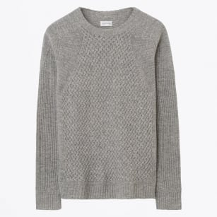 - Mixed Texture Crew Knit - Grey Melange