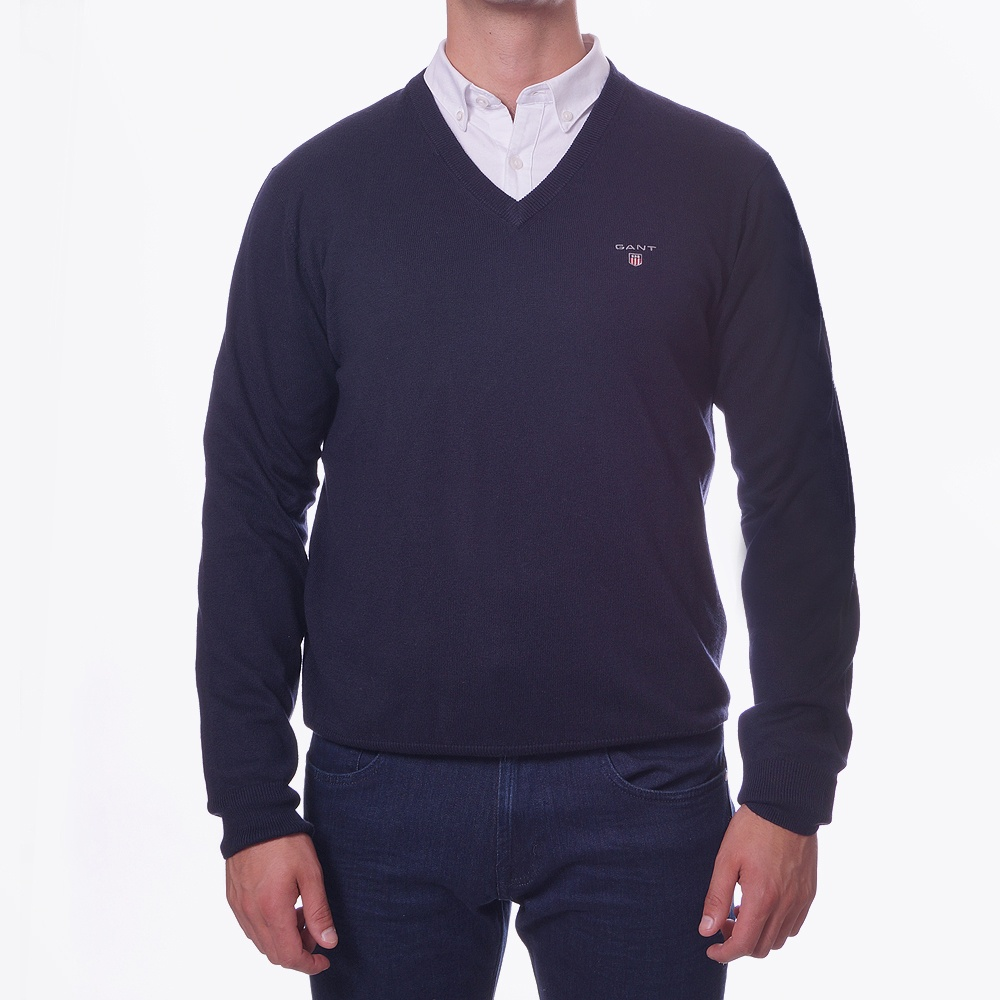 purchase genuine numerous in variety fashion style Gant | Navy V-Neck Cotton Jumper