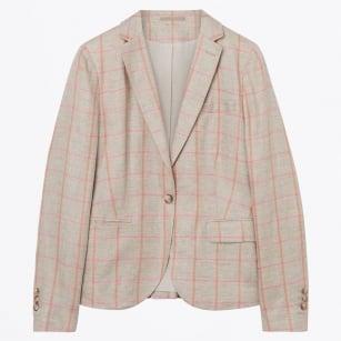 | Overneck Linen Blazer - Warm Khaki