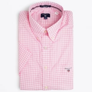 | Poplin Gingham Short Sleeved Shirt - Bright Pink