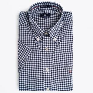 | Poplin Gingham Short Sleeved Shirt - Persian Blue