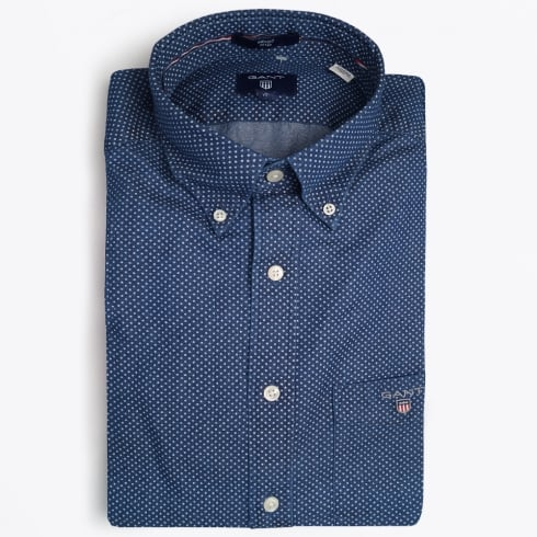 Gant - Printed Chambray Shirt - Indigo