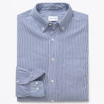 - Archive Oxford Banker Stripe Shirt - Deep Ocean