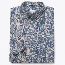 - Crisp Broadcloth Floral Shirt - Deep Ocean