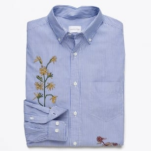 | Dreamy Oxford Embroidered Banker Shirt - Crisp Blue