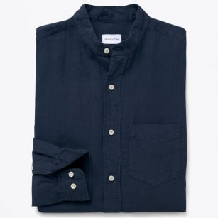 - French Linen Grandad Shirt - Deep Ocean