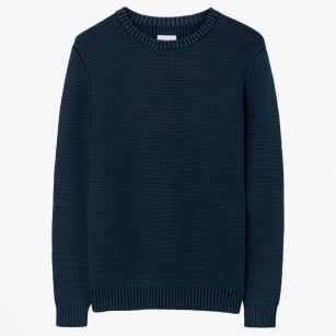 - Horizontal Herringbone Sweater - Navy