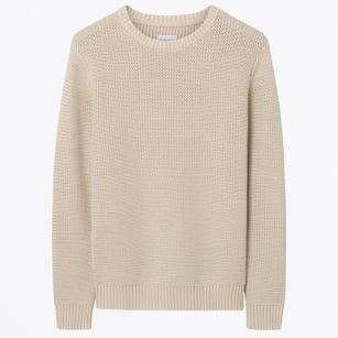 - Horizontal Herringbone Sweater - Sand