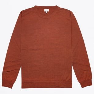 - Merino Crew Jumper - Burnt Red