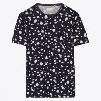 - Printed Organic Dot Tee - Evening Blue