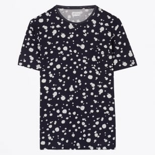 | Printed Organic Dot Tee - Evening Blue