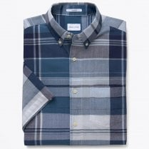 - Selvedge Bleeding Madras Shirt - Deep Ocean