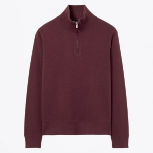 - Sacker Ribbed Haf Zip Knit - Dark Burgundy Melange