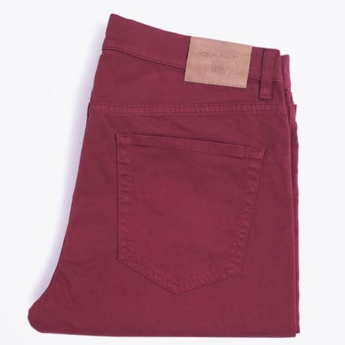 - Slim Fit Straight Jean - Burgundy