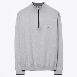 | Sporty Half Zip Jumper - Light Grey