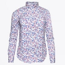 - Stretch Broadcloth Mini Floral Shirt - White