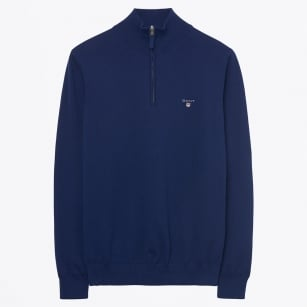 | Stretch Cotton Half Zip Jumper - Persian Blue