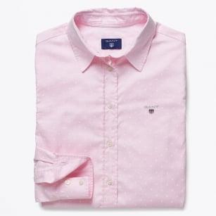 | Stretch Oxford Print Dot Shirt - Light Pink