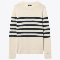 - Striped Cotton Crew Sweater - Cream