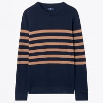 - Striped Cotton Crew Sweater - Marine