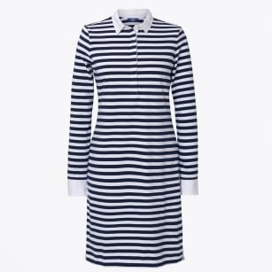 - Striped Heavy Rugger Dress - Navy