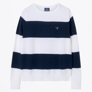 - Striped Pique Boat Neck Knit - Evening Blue