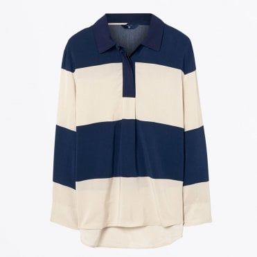 - Striped Pop Over Rugby Shirt - Putty