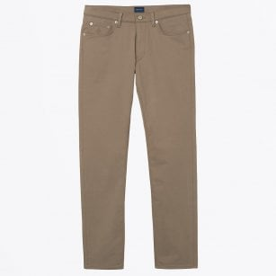 - Tapered Satin Jeans - Taupe