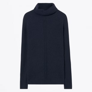 - Textured Merino Turtle Neck - Evening Blue