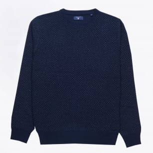 | Tuck Knit Crewneck Jumper - Marine