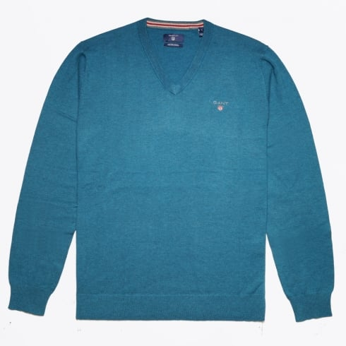 Gant - V Neck Knit Sweater - Ink Blue Melange