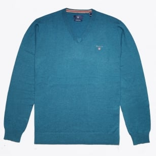 - V Neck Knit Sweater - Ink Blue Melange