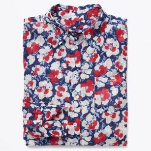 | Voile Vivid Flower Shirt - White