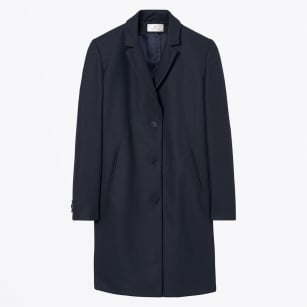 - Wool Cashmere Coat - Navy