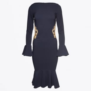 - Arielle Gold Applique Fluted Hem Dress - Navy