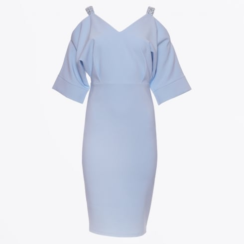 Genese - Jewelled Cold Shoulder Dress - Sky Blue