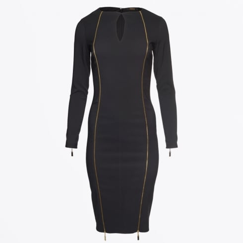 Genese - Kendra Double Gold Zip Dress - Black