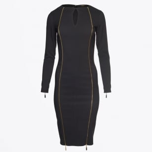 - Kendra Double Gold Zip Dress - Black