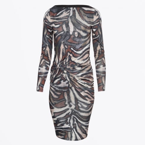 Genese - Mars Ruched Animal Print Dress