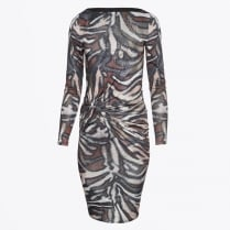 - Mars Ruched Animal Print Dress