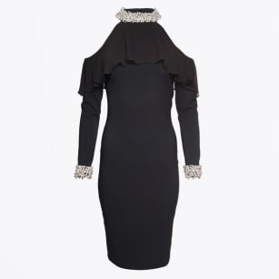 - Pearl Neck Cold Shoulder Dress - Black