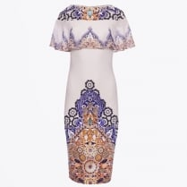 - Printed Treasure Dress With Frill Overlay - Off White