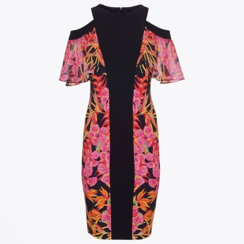 Genese - Tropical Printed Frill Sleeve Dress - Black