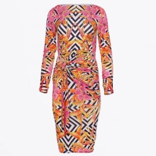 - Tropical Printed Side Ruch Dress - Pink/Orange